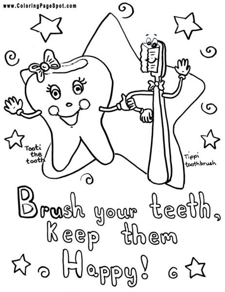 Page To Color. Dental Kids, Dental Health Week, Dental Health