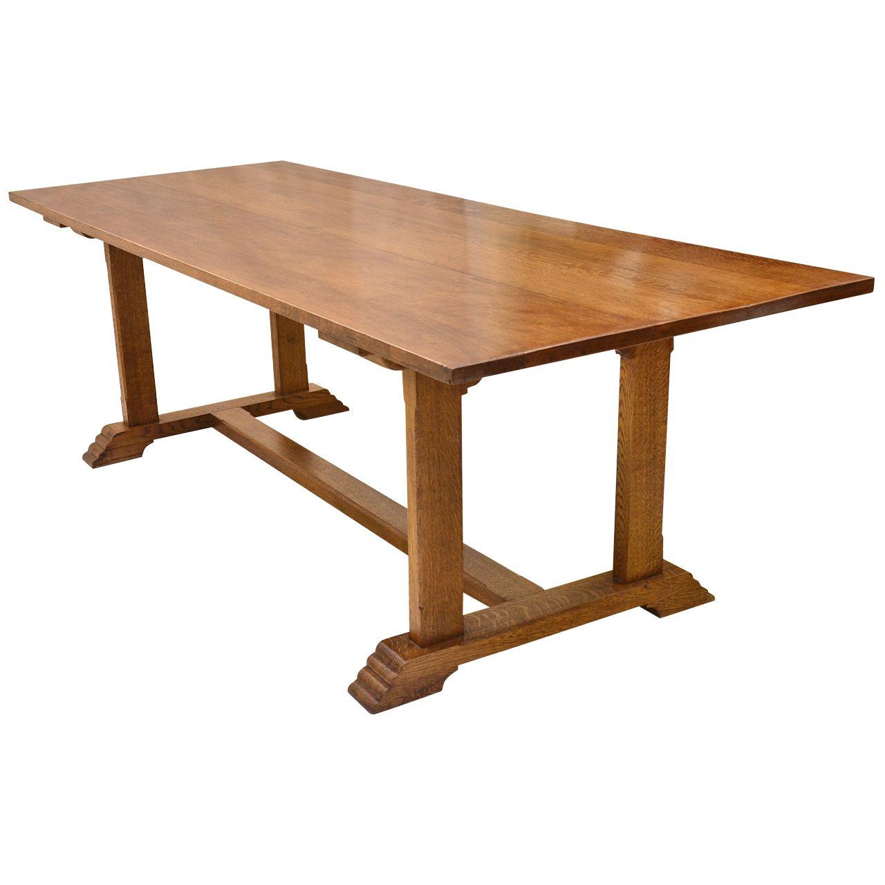 English Oak Trestle Base Gordon Russell Table | Dining room table ...
