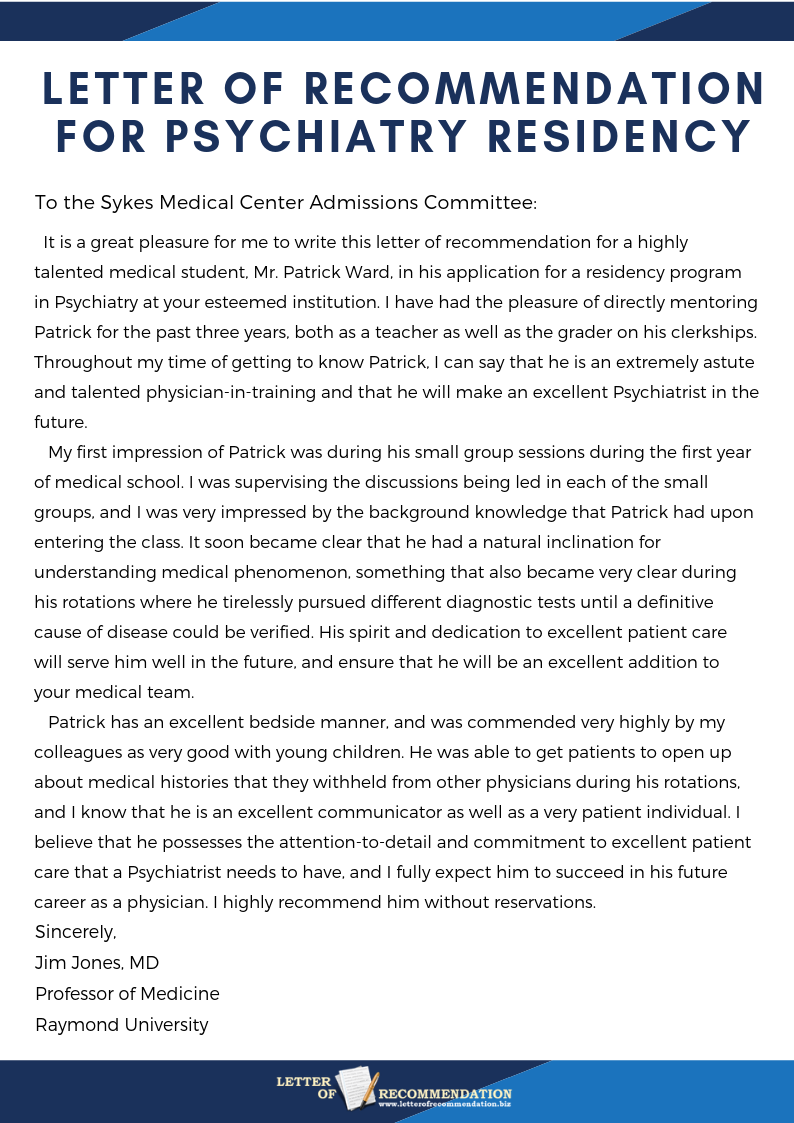 your home for the best psychiatry letter of recommendation