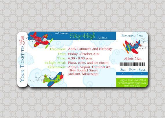 airplane boarding pass digital birthday by swishprintables, $15.00, Birthday invitations