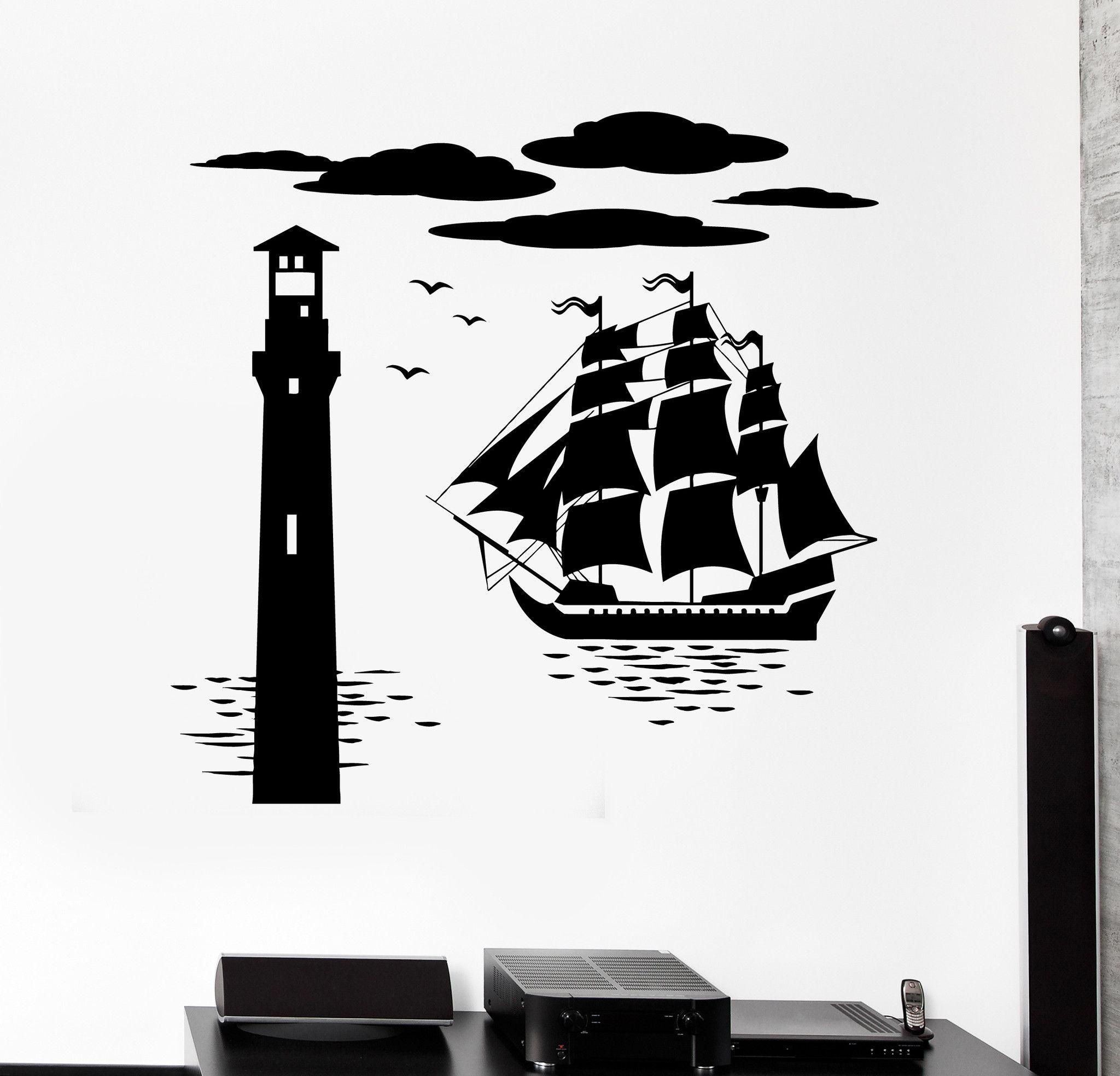 Vinyl wall decal ship lighthouse sea nautical marine stickers ig4426