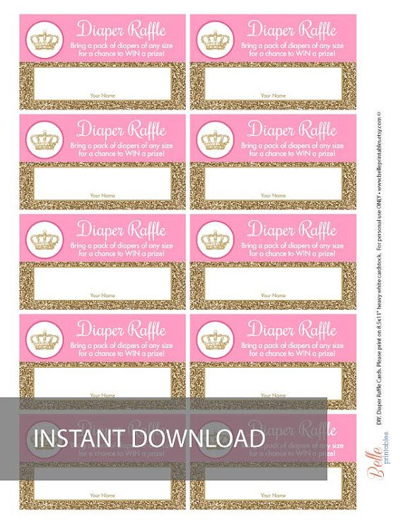 diaper raffle ticket pdf file crown and gold by belleprintables