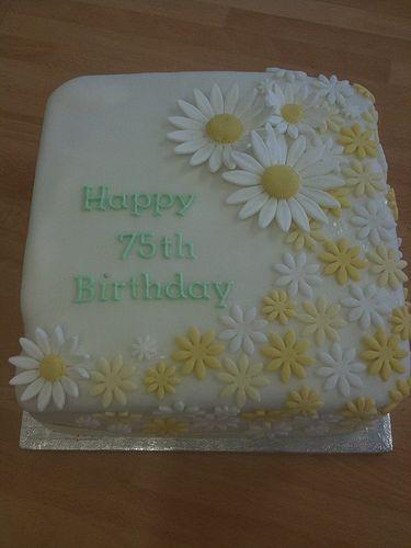 75th Birthday Daisy Cake 75th birthday cakes Daisy cakes and