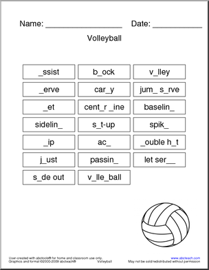 volleyball worksheet 20 different volleyball related words to fill in the missing letter. Black Bedroom Furniture Sets. Home Design Ideas