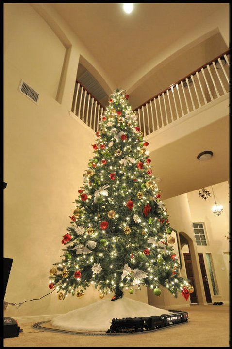 Our 12 foot Christmas Tree with running model of the Polar Express Train # christmas #holidays #tree #holidays