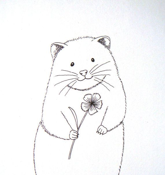 Hamster Ink Drawing Print Black and White Cute Funny by mikaart ...