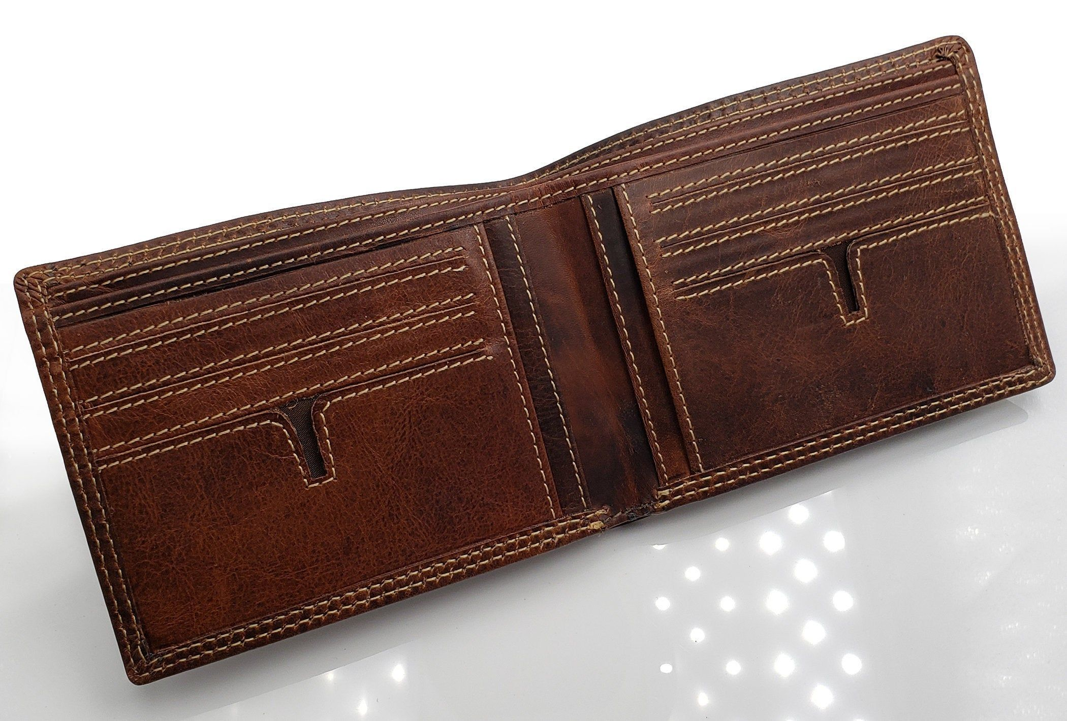 Ag wallets personalized mens handmade vintage brown