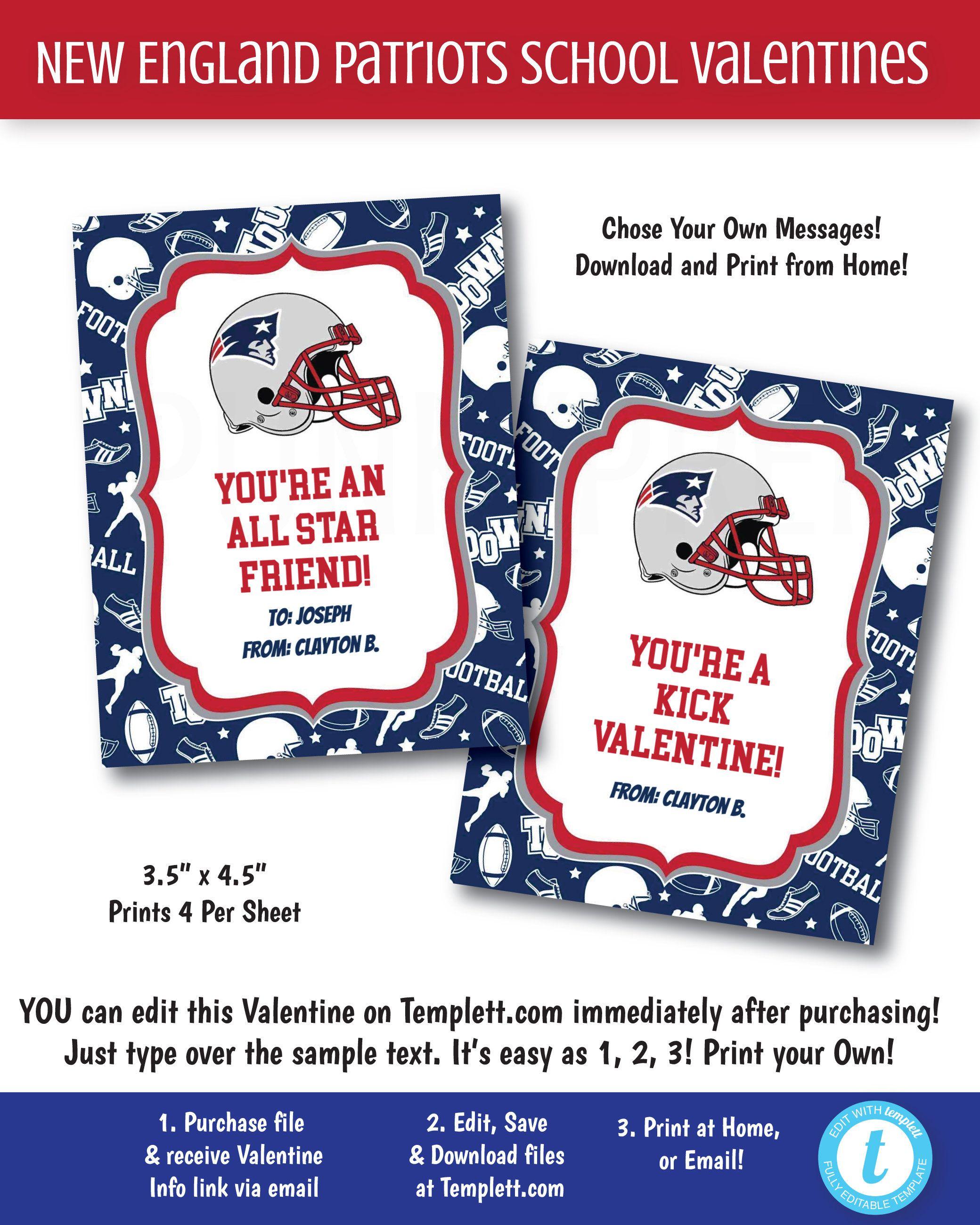 New England Patriots Valentines Printable Football School Valentines Boys Patriots Valentines Kids In 2020 Valentines School Valentines For Boys Valentines For Kids