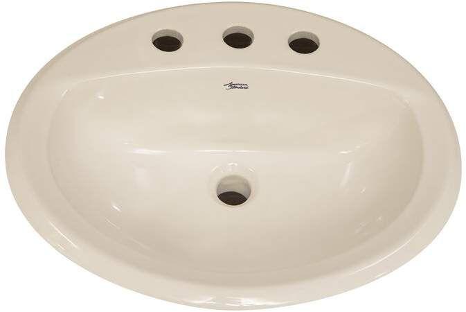 Aqualyn Ceramic Oval Drop In Bathroom Sink With Overflow Drop In