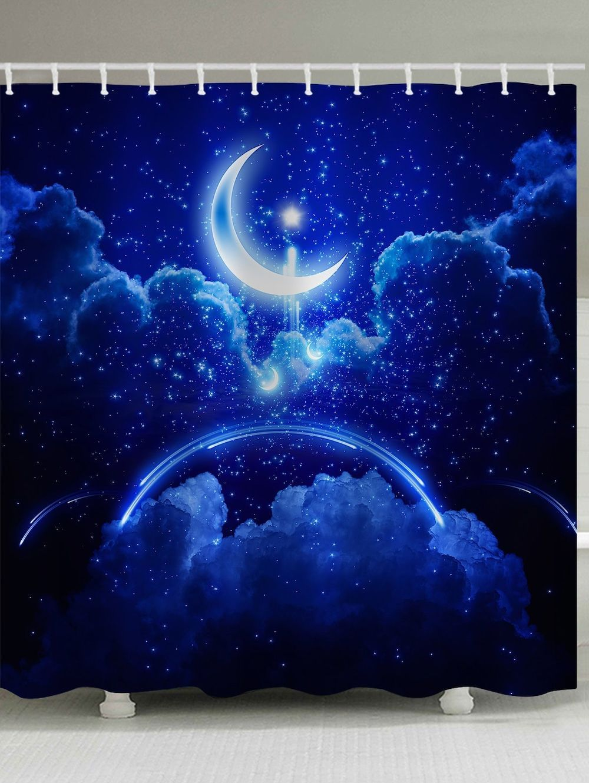 Bath Decor Moon Starry Night Sky Print Shower Curtain Cobalt
