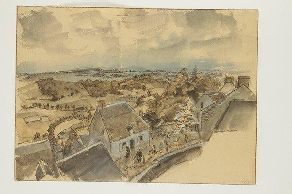 Jules Chadel 1870 1941 Paysage D Auvergne Dessin Lavis D Encre