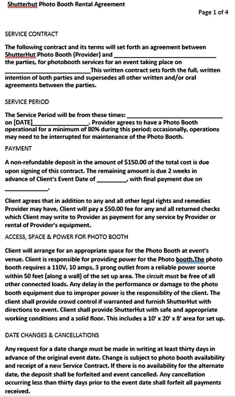 Booth Rental Agreement Templates Rental Agreement Templates Photo Booth Rental Business Template