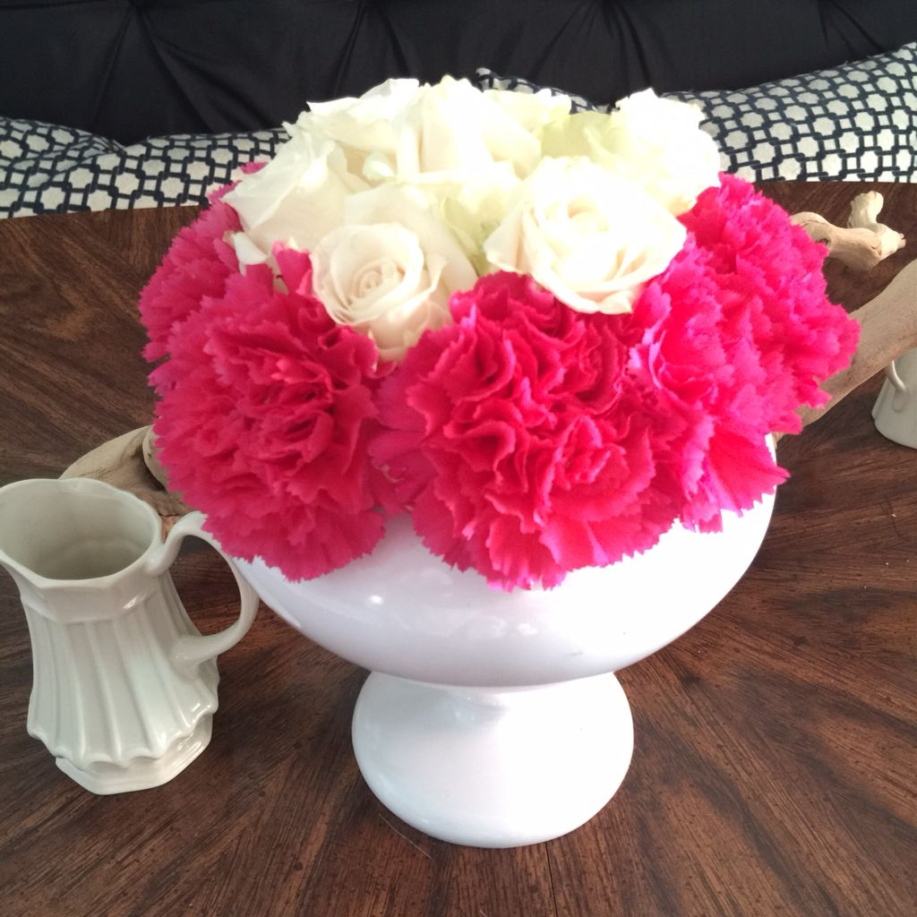 Pink And Blush Arrangment Made With Kroger Flowers Roses And Carnations Pink Carnations Rose