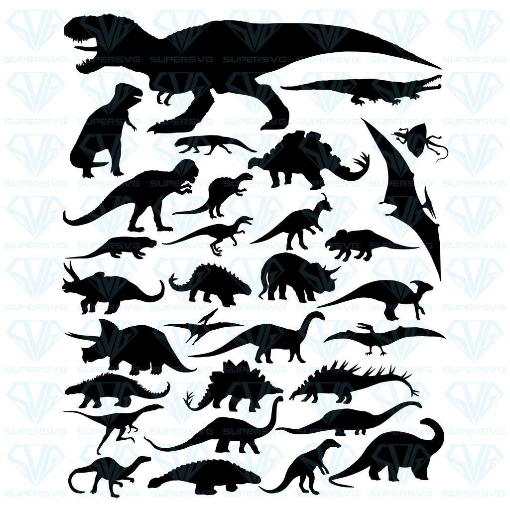 dxf Dinosaur bundle svg Dinosaur silhouette cricut digital png image file