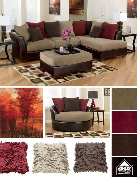 A Matching Round Chair Yeah Brown Home Decor Burgundy Living Room Maroon Living Room