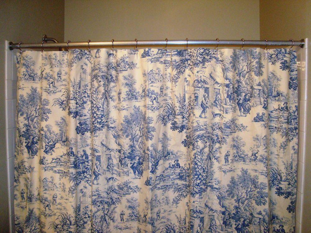 Cotton Shower Curtain 72x84 Handmade Boutique Bathroom Decor Blue