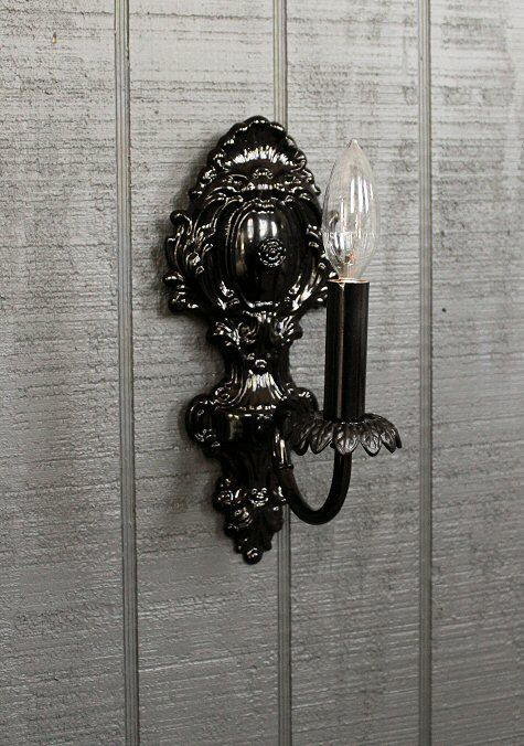 Black Wall Sconce Shabby Chic Style Wall Light Wall By Lightlady Vintage Wall Sconces Black Wall Sconce Wall Sconces Bedroom