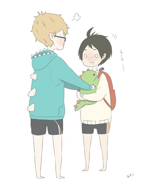 Yamaguchi: *cries* tsukki: *gives fav dino* d-d-dont cry