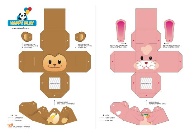 Blog Paper Toy Papertoys Finger Puppets Salazad Animals Serie Template Preview 1 20 Puppet