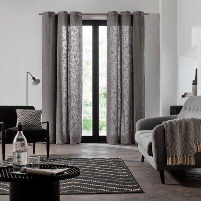 Photo of Madura Bellevue Solid Color Semi-Sheer Grommet Single Curtain Panel | Wayfair
