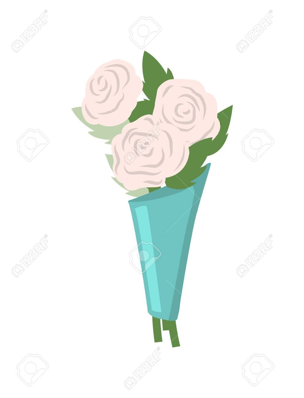 Flowers composition in blue paper wrapping vector, isolated icon closeup. Romantic present on holiday, flora botanical gift, blossom of white roses , #ad, #isolated, #vector, #closeup, #icon, #wrapping