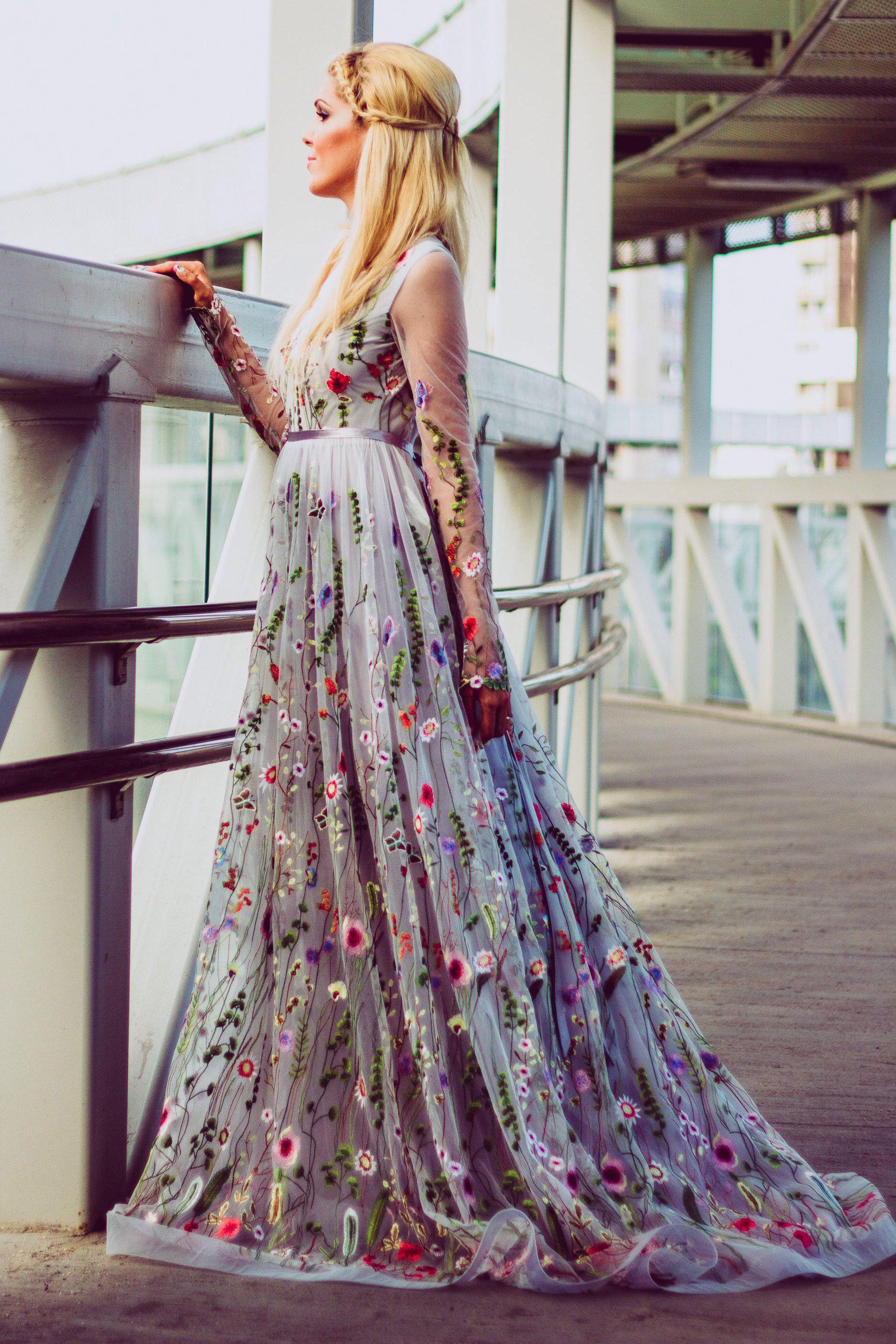 Color embroidered wedding dress  Flower wedding dress in gray Color wedding dress with sleeves