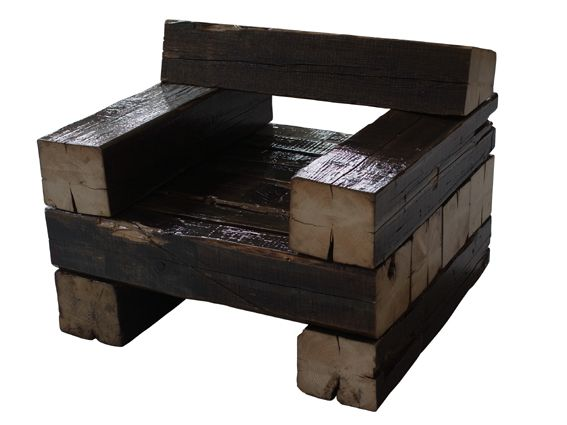 Chair Made From Wooden Railroad Ties Diy Amp Crafts