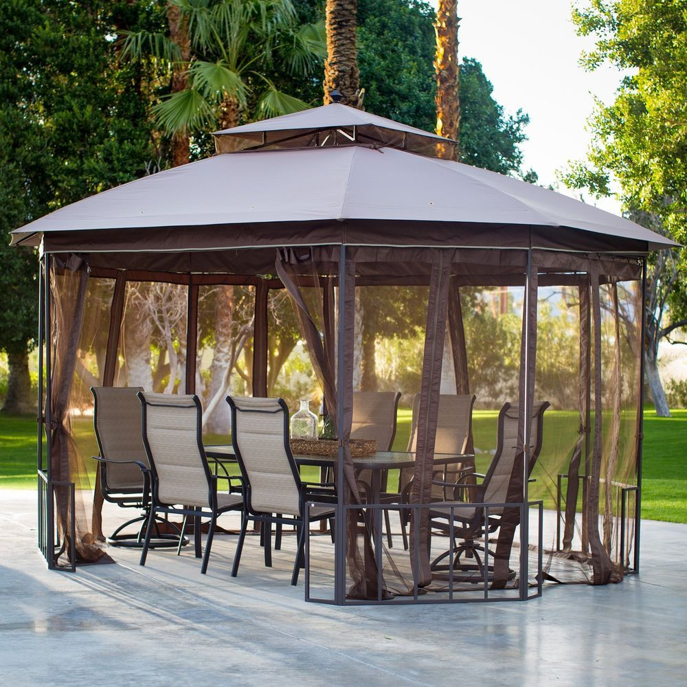 outdoor patio octagon 10x12 ft gazebo canopy with curtains durable