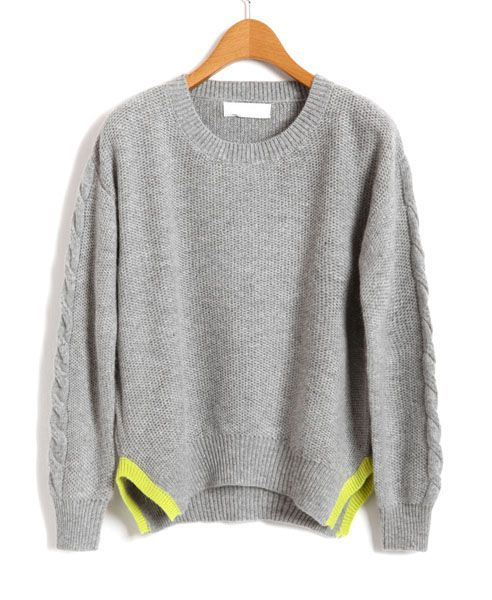 Gray Knit Jumper with Cable Knit Sleeves and Contrast Vent Hem