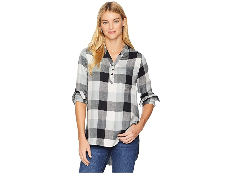 Mountain Khakis Josie Tunic (Black Plaid) Women's Blouse. You've spent enough time on the trail. It's time to treat yourself to some at-home luxury with the soft feel and simple style of the Mountain Khakis Josie Tunic. Relaxed Fit creates a loose  draped silhouette. Herringbone weave:  Soft  lightweight rayon weave with a classic herringbone pattern.  Yarn-dyed plaid varies with each color.  4 oz fabric weight. Mandarin co #MountainKhakis #Apparel #Top #Blouse #Black