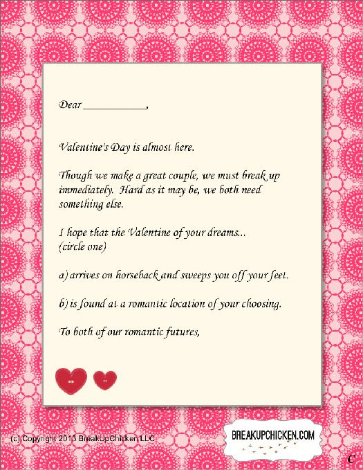 Pre-Valentine'S Day Breakup Form Letter C | Breakup Letters