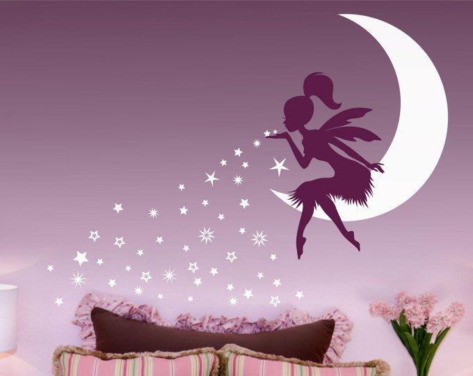 fairy art fairy decor, pixie dust star wand wall decal, tinkerbell