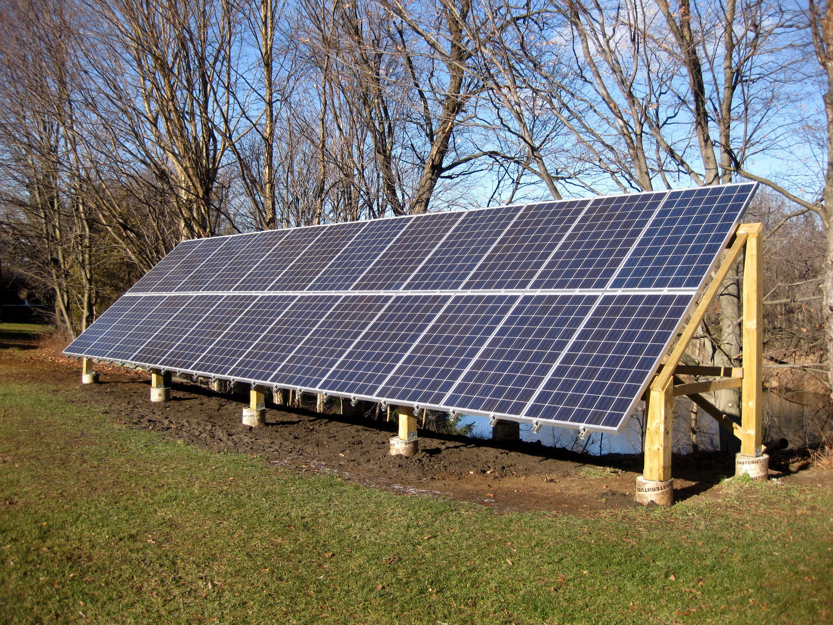 It S Possible To Build Your Own Wood Groundmount For Your Solar System Easy To Brush The Snow Off In 2020 Solar Panels Roof Buy Solar Panels Solar Panels For Sale