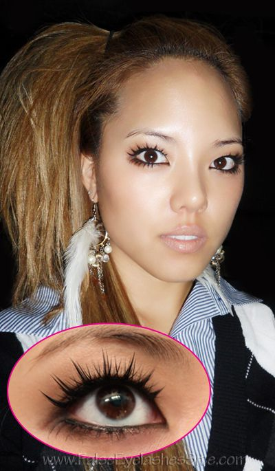 8fbc2926fb3 Hime Gyaru look using Elegant Lashes M015 Mystic lashes on top and Elegant  Lashes #602 Brown on bottom.
