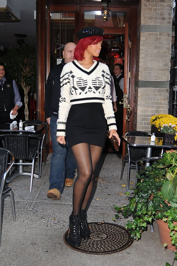 5656bee6aaa7 Rihanna Lookbook  Rihanna wearing Beret (2 of 7). Rihanna wears a black  embellished beret while out in SoHo.