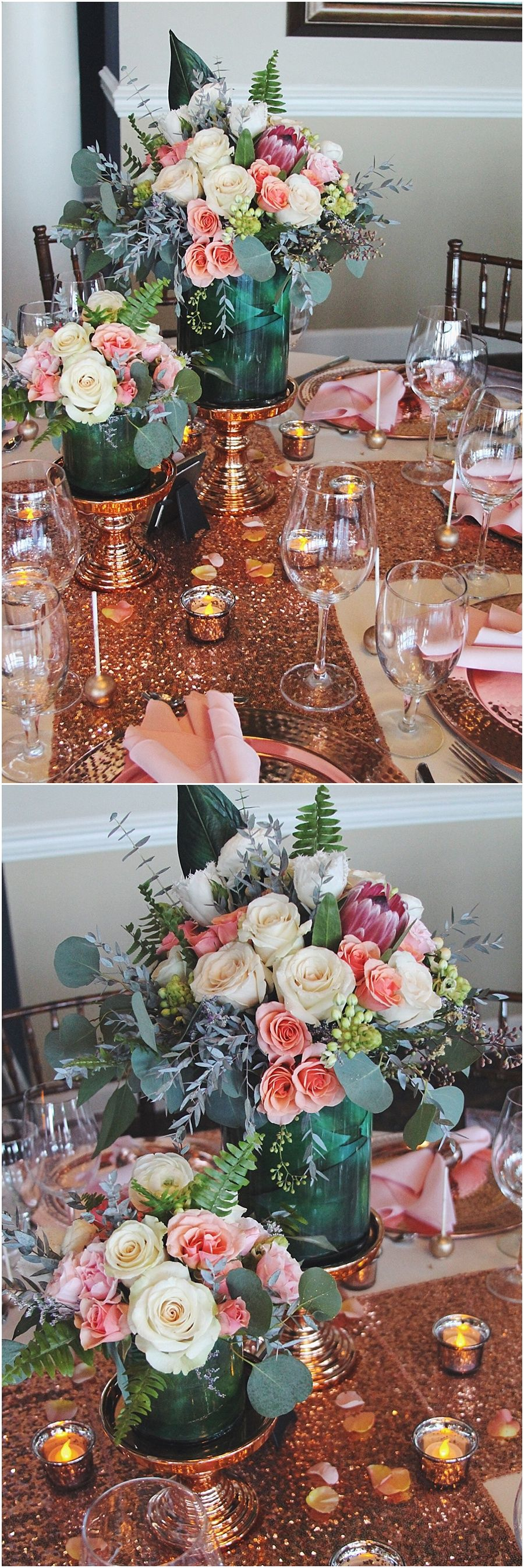 Rose gold sequin and blush wedding inspiration les t