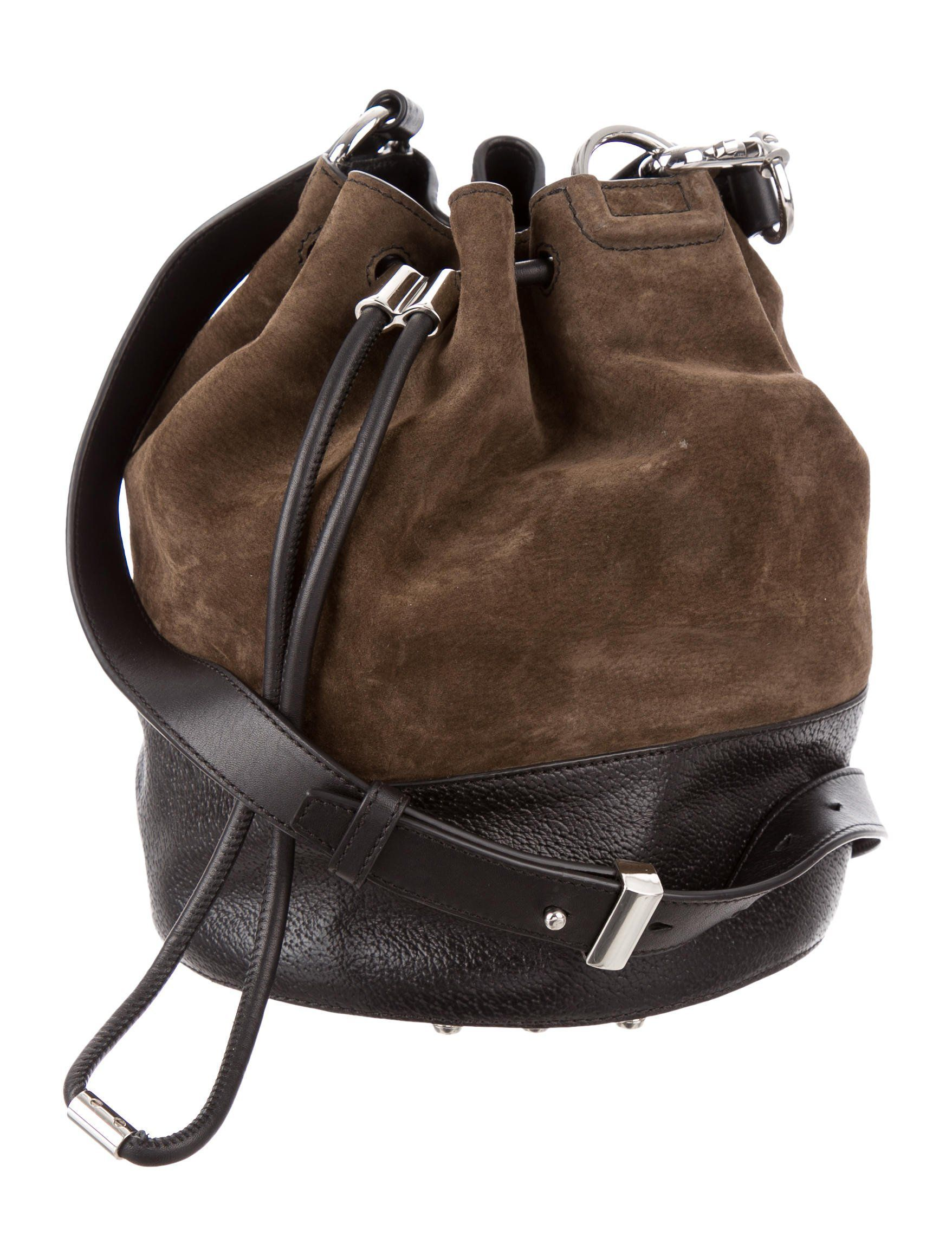 c576c6a867 Olive green suede and black leather Alexander Wang Alpha Leather Bucket Bag