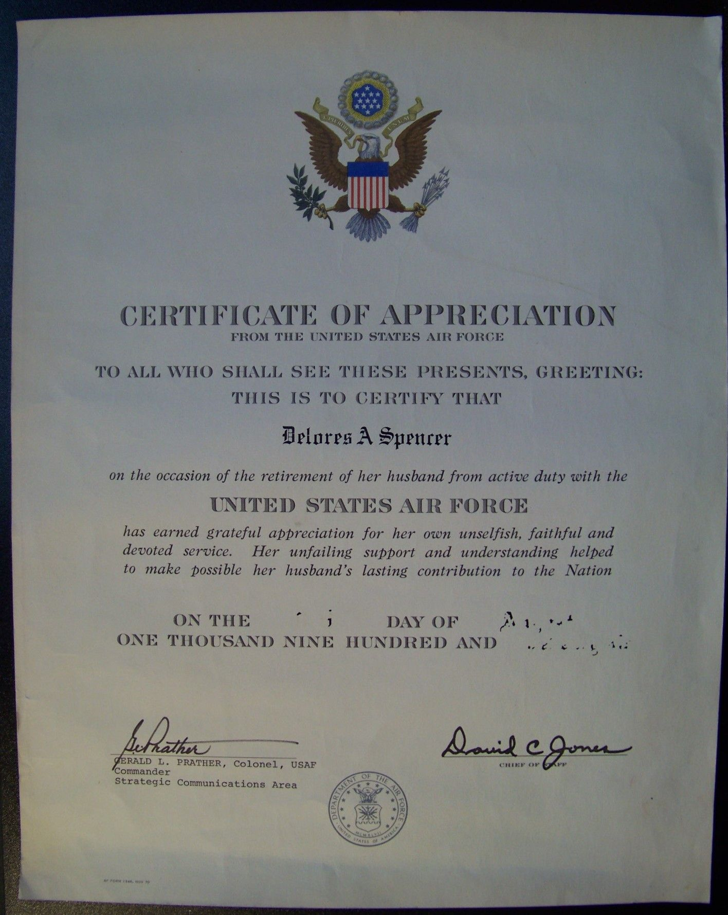 Delores Spencer Certificate Of Appreciation From The United States Air Force Certificate Of Appreciation Beginning Of The School Year United States Air Force Air force certificate of appreciation template