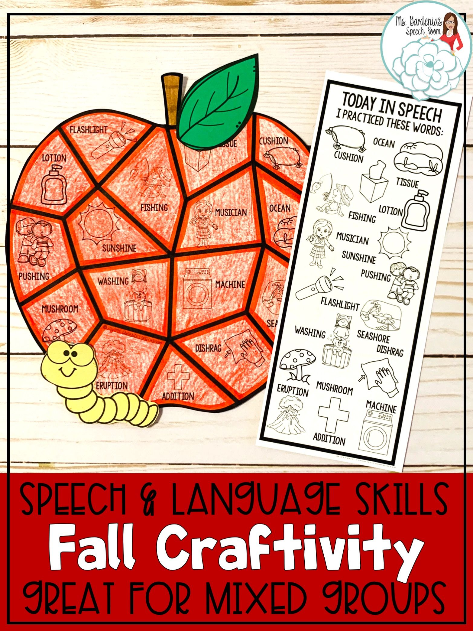 Fall Speech And Language Craftivity Colorful Apples