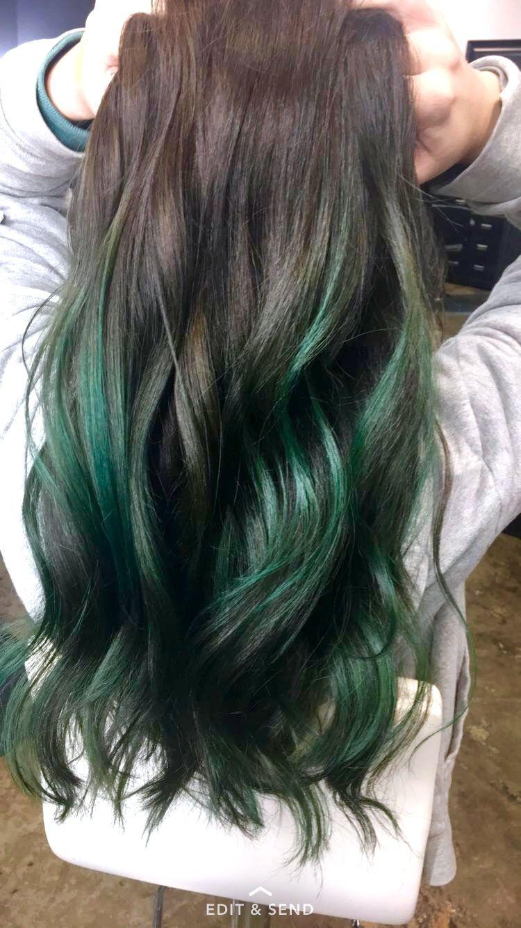 Emerald Green Balayage Green Hair Ombre Dark Green Hair Hair Highlights