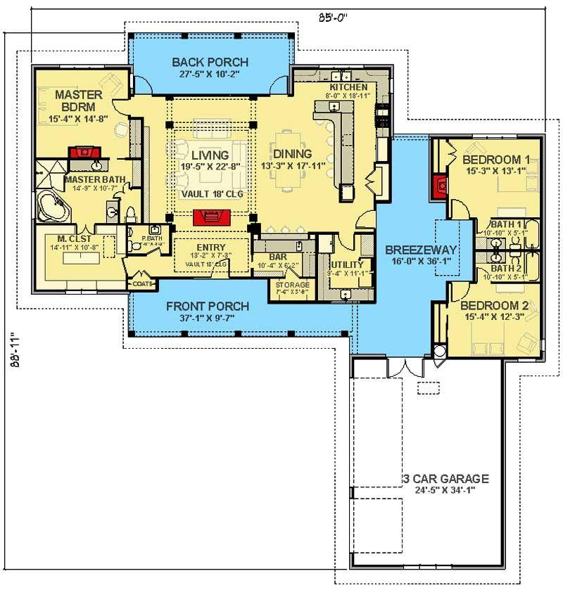 Plan 28902jj Two Porches And A Breezeway House Plans And More Ranch House Plans New House Plans