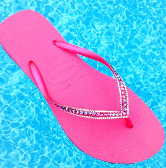 e9e748ec32ac00 Custom Crystal Fuchsia Havaianas Flip Flops Slim Hot Pink