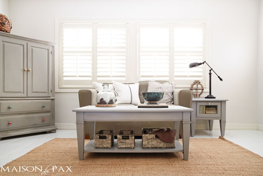 Gray Chalk Paint Coffee and Side Table home decorating ideas