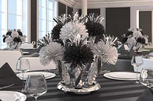 Red White And Black Centerpieces