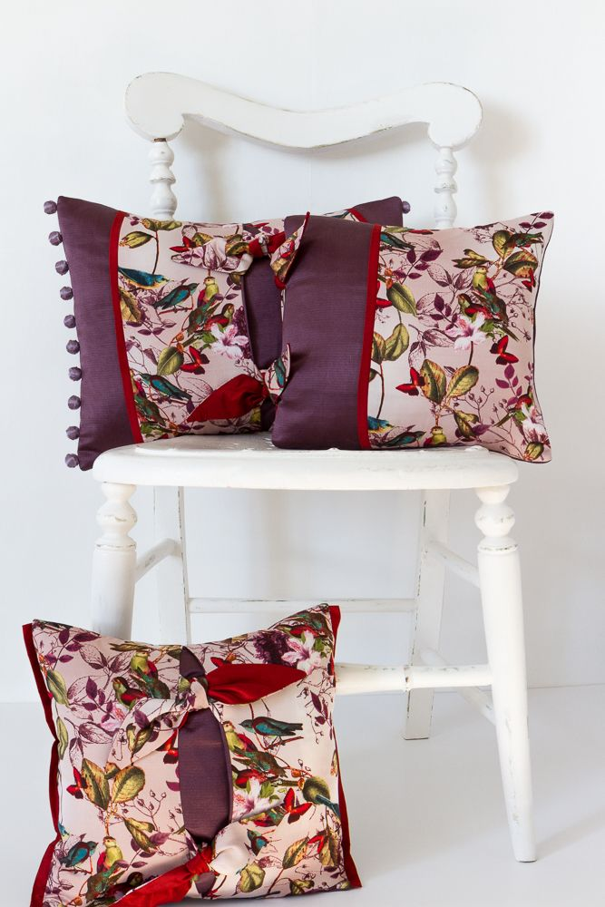 Aubergine Coloured Bird Print Cushion Purple Cushion Decorative Magnificent Aubergine Decorative Pillows