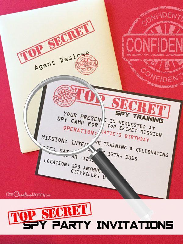 Printable Spy Party Invitations Spy party Spy and Party invitations