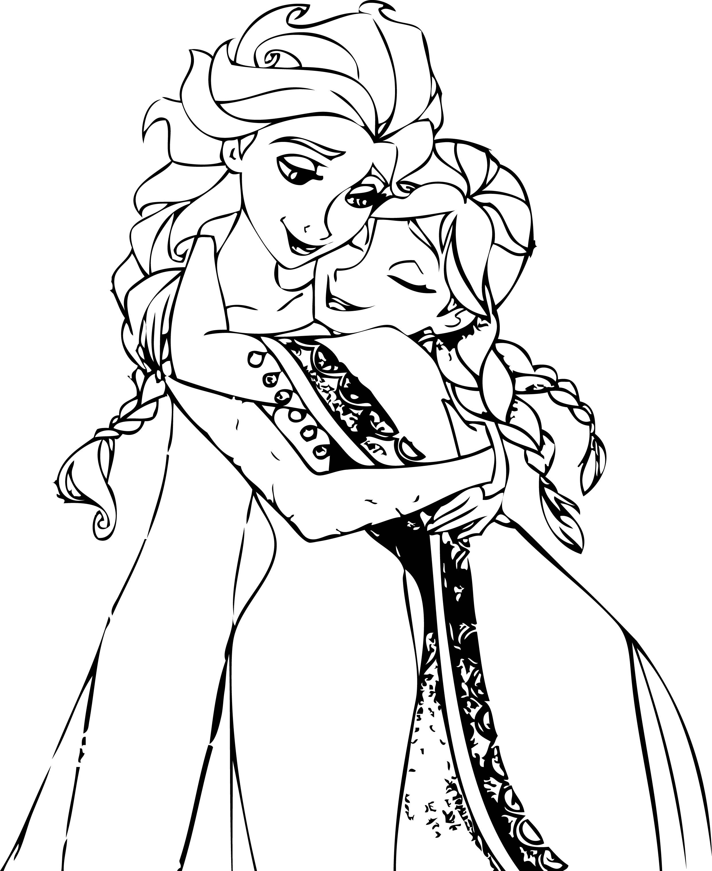 Cool Elsa And Anna Hug Coloring Page