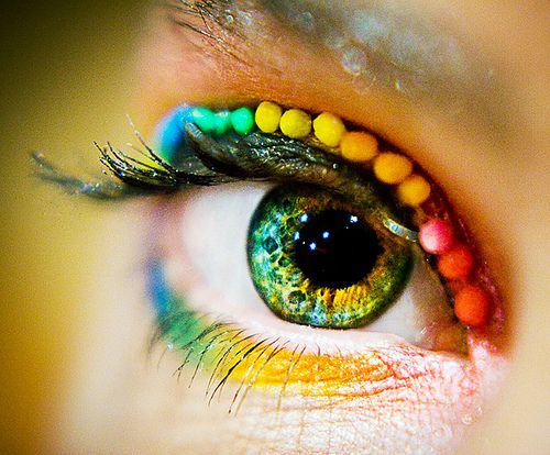 Beautiful Rainbow Eye Makeup Colorful Color Green Eyes