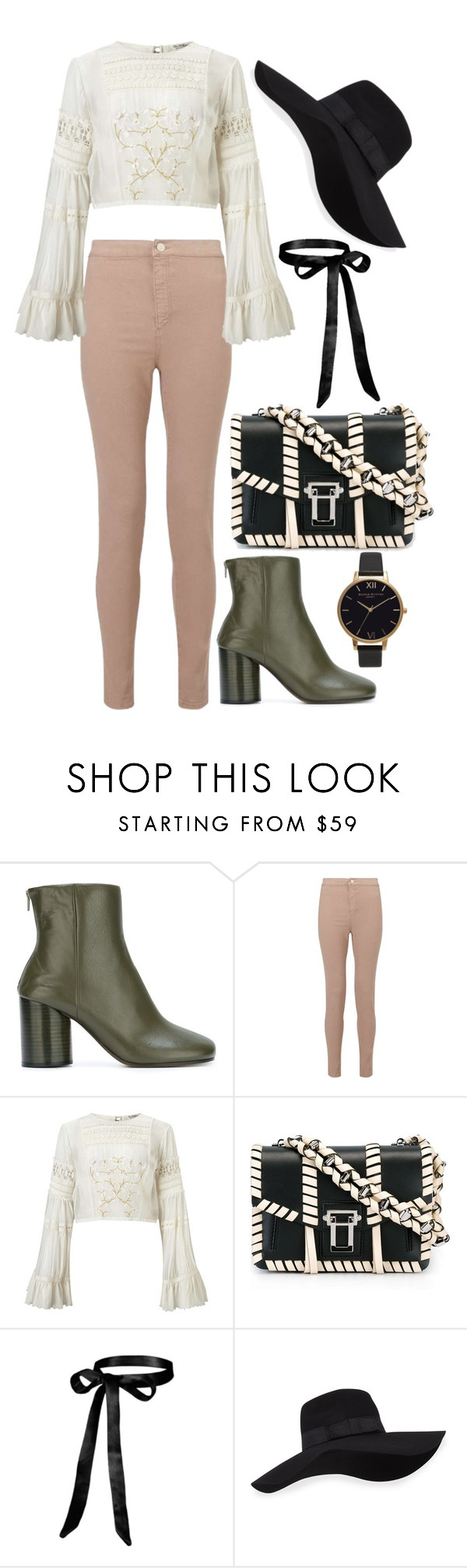 """""""Untitled #1419"""" by gabbyriera ❤ liked on Polyvore featuring Maison Margiela, Miss Selfridge, Proenza Schouler, San Diego Hat Co. and Olivia Burton"""