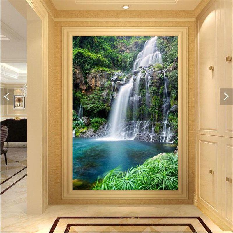 3D European Waterfall Self-adhesive Dinning Room Door Poster Bedroom Door Mural